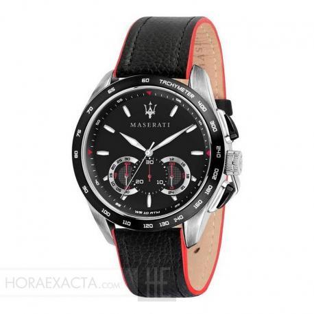 Reloj Maserati Traguardo Cuarzo Negro Chrono Acero Correa 45 mm.