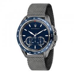Reloj Maserati Traguardo Cuarzo Azul Chrono PVD Negro Milanesa 45 mm.
