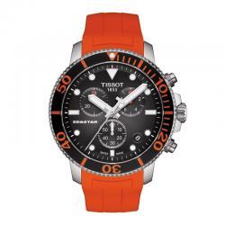 Reloj Tissot Seastar 1000 Chronograph Negro Caucho Naranja