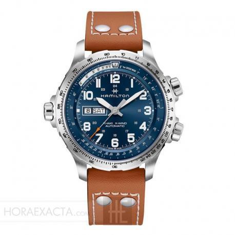 Reloj Hamilton Khaki Aviation X-Wind Day Date Auto Azul Piel Marrón