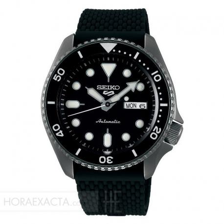 Reloj Seiko 5 Suits Automático PVD Negro Silicona Day Date 42,5 mm. SRPD65K2