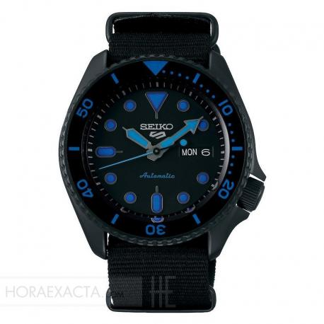 Reloj Seiko 5 Street Automático PVD Negro Nato Day Date 42,5 mm. SRPD81K1