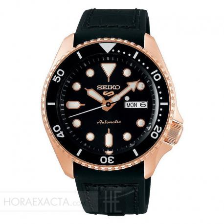 Reloj Seiko 5 Street Automático PVD Oro Rosa Piel Day Date 42,5 mm. SRPD76K1