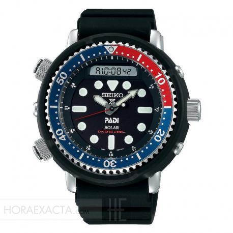 "Reloj Seiko Prospex Solar ""Arnie"" Diver 200 m Negro Azul y Rojo Caucho SNJ027P1"