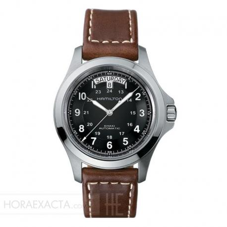 Reloj Hamilton Khaki Field King Auto Negro Piel Marrón. H64455533