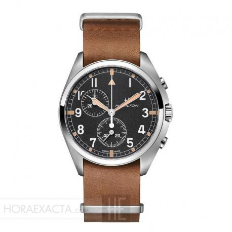 Reloj Hamilton Khaki Aviation Pilot Pioneer Chrono Cuarzo NATO piel Marrón