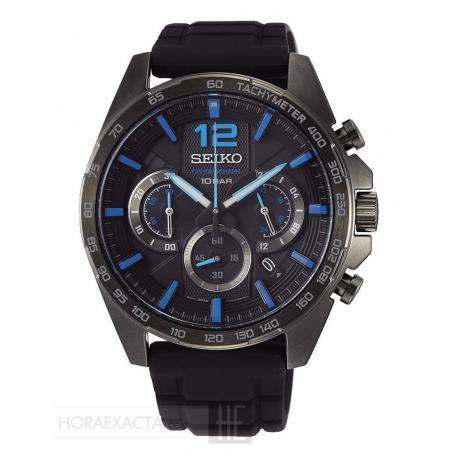 Reloj Seiko Neo Sports Crono PVD Negro Caucho SSB353P1