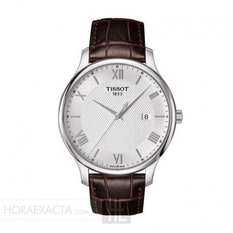 Reloj Tissot Tradition Blanco Cuarzo Piel Marrón 42 mm. T063.610.16.038.00