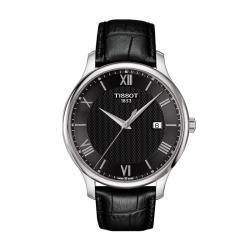 Reloj Tissot Tradition Negro Cuarzo Piel Negra 42 mm. T063.610.16.058.00