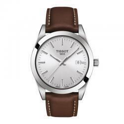 Reloj Tissot Gentleman Grís Plata Piel Marrón 40 mm. T127.410.16.031.00