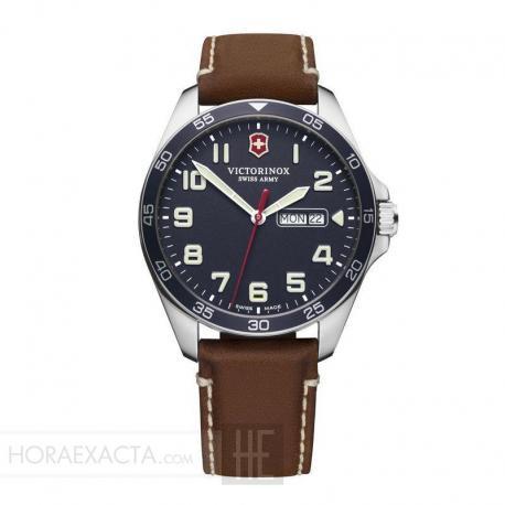 Reloj Victorinox Fieldforce Cuarzo Azul Piel Marrón 42 mm. V241848