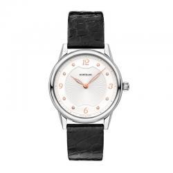 Reloj Montblanc Bohème Automatic Lady Plata-Blanco Diamantes Piel Negra. 123868