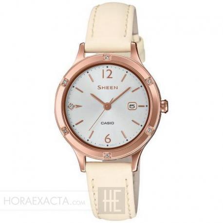 Reloj Casio Sheen PVD Oro Rosa Piel Crema Swarovski 30 mm. SHE-4533PGL-7AUER