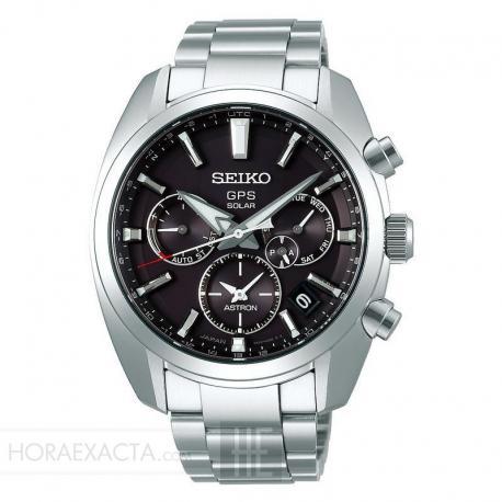Reloj Seiko Astron GPS Solar Dual Time Negro Acero Armis SSH021J1