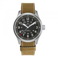 Reloj Hamilton Khaki Field Mechanical Negro Piel Marrón 50 mm