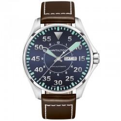 Reloj Hamilton Khaki Aviation Pilot Auto Azul Piel Marrón