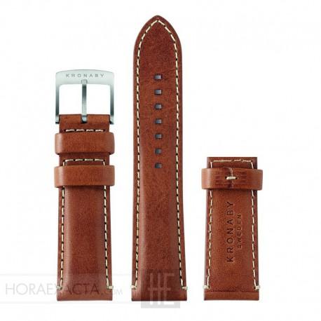Correa Kronaby Piel marrón 22 mm