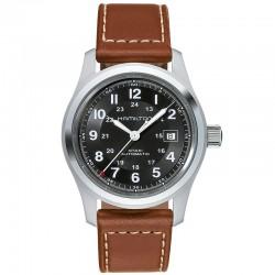 Reloj Hamilton Khaki Field Auto Negro Piel Marrón