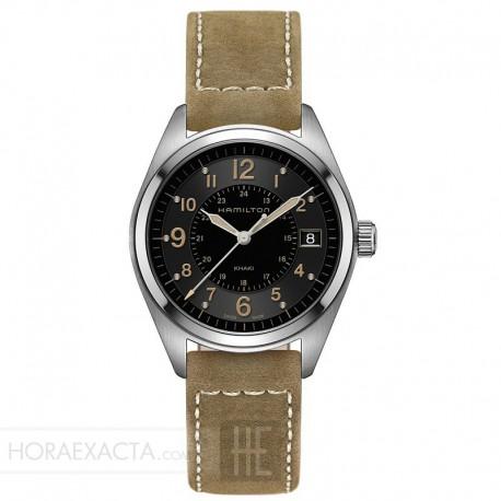 Reloj Hamilton Khaki Field Cuarzo Negro Piel Tipo Nabuc