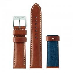 Correa Kronaby Piel Marrón Azul 22 mm