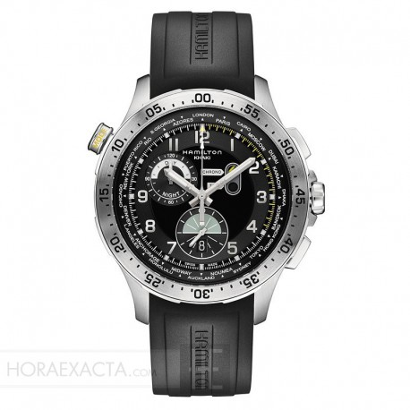 Reloj Hamilton Khaki Aviation Worldtimer Chrono Cuarzo Negro Caucho