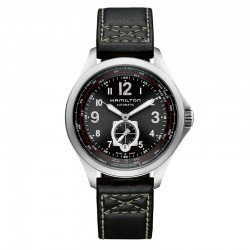 Reloj Hamilton Khaki Aviation QNE Auto Negro Piel Negra. OUTLET *