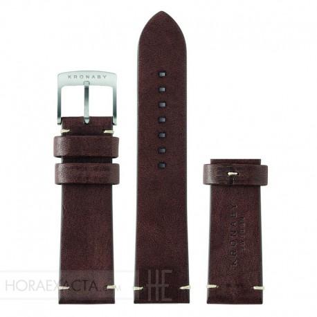 Correa Vintage Kronaby Marrón oscuro 22 mm