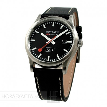 Reloj Mondaine Sport Day Date Negro Piel Negra