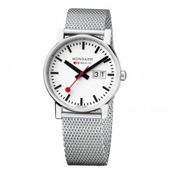 Reloj Mondaine Evo Lady Big date Blanco Milanesa 30 mm.