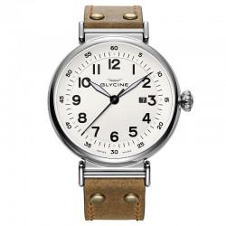 Reloj Glycine F104 Auto Blanco Piel Marrón 48 mm.