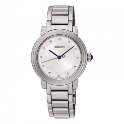 Reloj Seiko Lady Cuarzo Gris Plata Índices Facetados Armis Acero 29 mm.