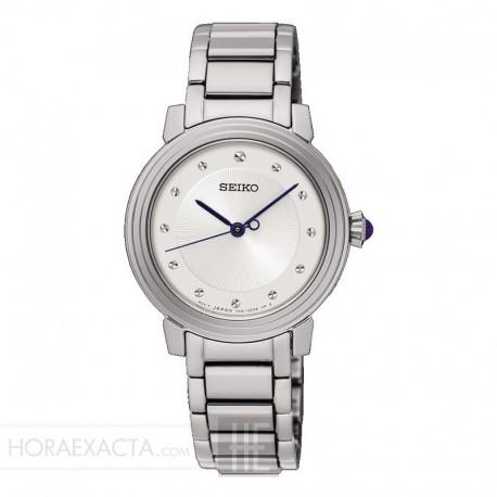 4d146bd8e Reloj Seiko Lady Cuarzo Gris Plata Índices Facetados Armis Acero 29 mm.
