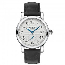 Reloj Montblanc Star Roman Small Second Automatic Gris Plata Piel Negra 39 mm.