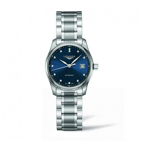 Reloj Longines Master Collection Lady Auto Azul Diamantes Armis 29 mm.