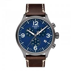 Reloj Tissot Chrono XL PVD Gris Azul Piel Marrón 45 mm.