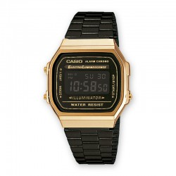 Reloj Casio Collection Digital Armis Negro Caja Dorada Grande A168WEGB-1BEF